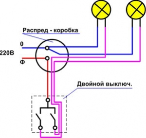 Схема двойного выключателя на две лапочки.